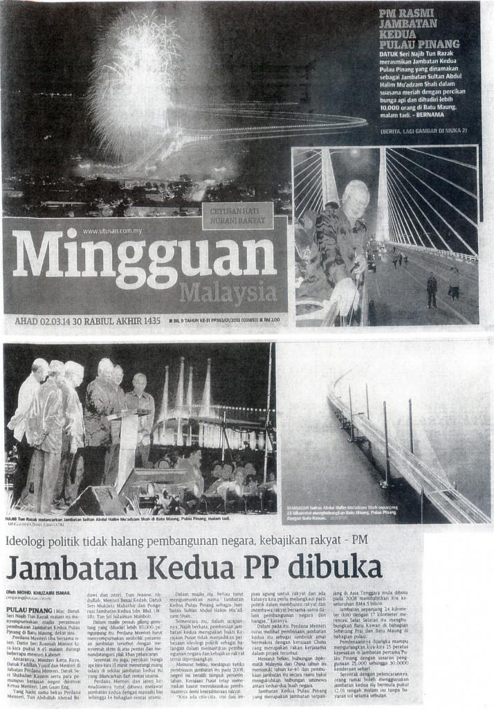 2 Mac 2014 - Mingguan Malaysia - Jambatan Kedua PP Dibuka2