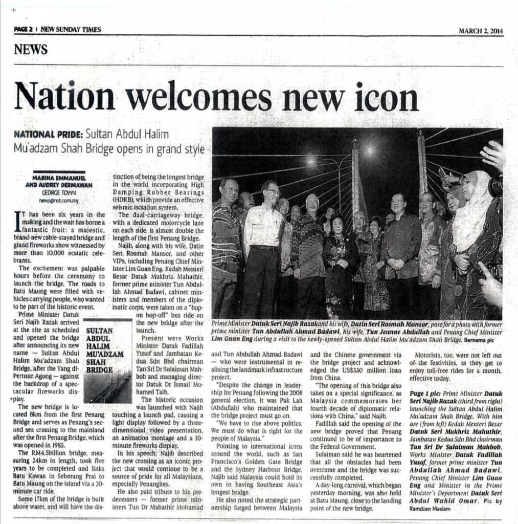 2 mac 2014 - Nation Welcomes New Icon - New Sunday Times