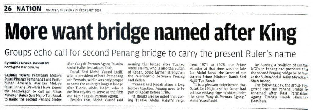 27 Feb The Star - More Want Bridge Named After King