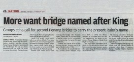 More Want Bridge Named After King | The Star (27 Februari 2014)