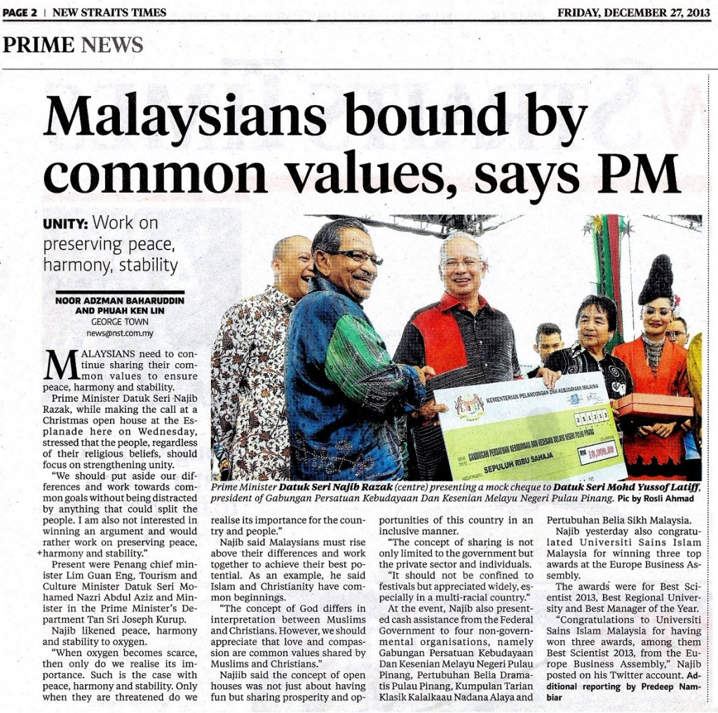 NST - Malaysians Bound by Common Values, Says PM 27 Dis 2013a