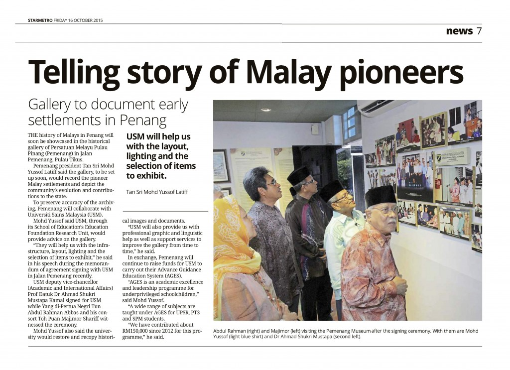 STARMETRO FRIDAY 16 OCTOBER 2015 - Telling story of Malay pioneers