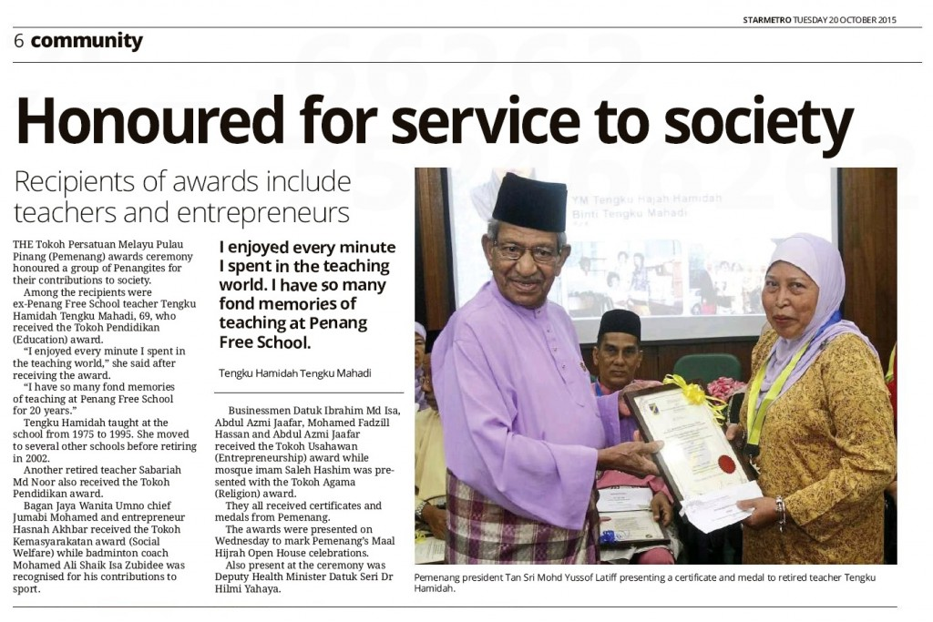 STARMETRO TUESDAY 20 OCTOBER 2015 - Honoured for service to society