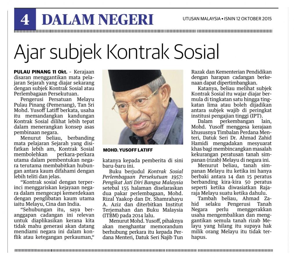 UTUSAN MALAYSIA - ISNIN 12 OKTOBER 2015