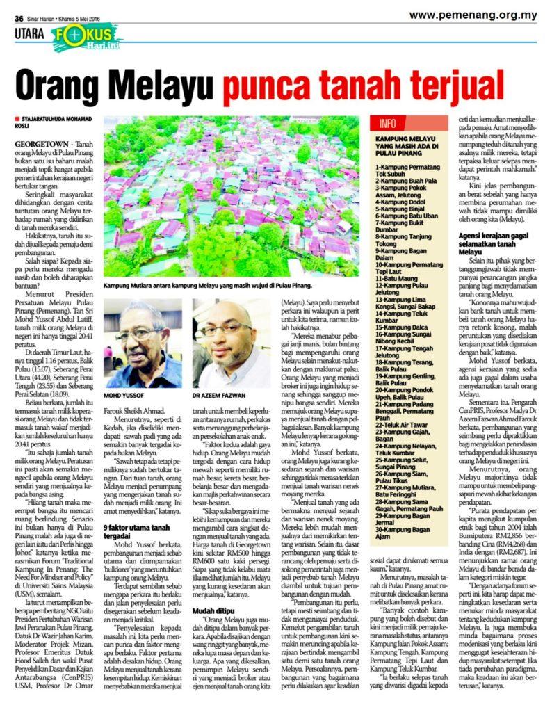 SINAR HARIAN (EDISI UTARA) - 5 MEI 2016 - ORANG MELAYU PUNCA TANAH TERGADAI (page 36)